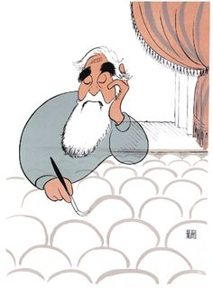 Illustrator Al Hirschfeld, Self Portrait at 90, Theatre Seats