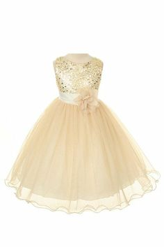 Gold Flower Girl Dress $40. Thoughts, @Kirstie Malley Smith ? Girls Dresses, Flower Girl Dresses, Formal Dresses, Ball Gowns, Sequins, Gold, Skirts, Easter Dress, Fashion
