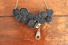 Recycled Jean Bib Necklace with Zipper