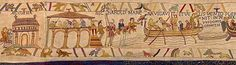the Bayeux Tapestry - Harold and a companion enter the church at Bosham, to pray for a safe voyage. The night before they leave a feast is held in one of Harold's many houses - the manor house at Bosham. Harold boards his ship and sets sail. He is still carrying his hawk.