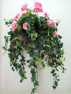 HAN010 Luxury Pink Faux Geranium Hanging Basket £55