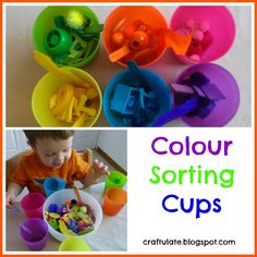 I recently bought six plastic cups in different colours. What possible use could they have other than to use them for a fine motor skills colour sorting activity