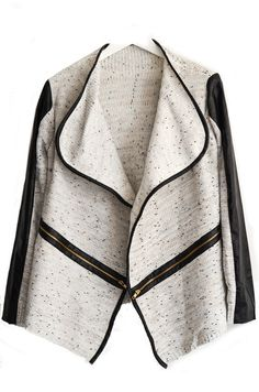 Lapel Collar Asymmetrical Gold Cream Knit PU Leather Trim Cardigan