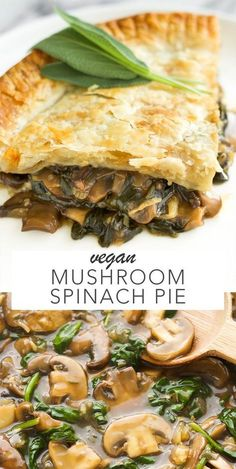 Vegan Mushroom Spinach Pie is part of Vegan Mushroom Spinach Pie Amy Le Creations - An easy to make vegan pie that has a saucy mushroom and spinach filling Makes the perfect comforting meal! Side Dish Recipes, Veggie Recipes, Whole Food Recipes, Cooking Recipes, Pie Recipes, Bean Recipes, Recipies, Vegan Dinner Recipes, Vegetarian Recipes