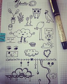 Doodle practice inspiration from Pinterest. Doodling icons and planner / journal doodles by Kerrymay._.Makes - kerrymaymakes.weebly.com