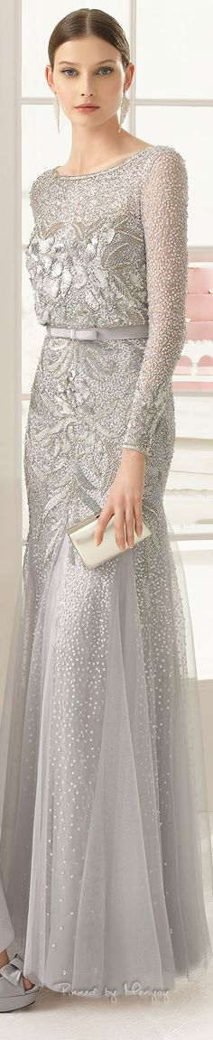 Aire Barcelona | 2015 silver gray beaded long sleeve evening gown ... MOB