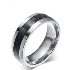 New carbon fiber men's ring stainless steel ring KR2290