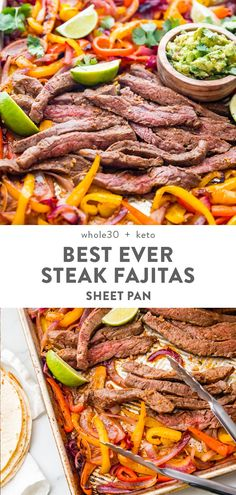 Best Sheet Pan Fajitas with Steak Low Carb) These are seriously the best sheet pan fajitas with steak ever! They're insanely quick and easy, made in less than 20 minutes, and they're the best beef fajitas I've ever had. Absolutely perfect for mea Healthy Mexican Recipes, Paleo Recipes, Low Carb Recipes, Quick Recipes, Dinner Recipes, Quick Paleo Meals, Baking Recipes, Healthy Steak Recipes, Dessert Recipes