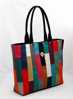 jiyoh Multicolor Mosaic Tote Patch Design d4f544fe35644