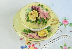 Stunning hand painted Stanley fine bone china cup and saucer. Vintage item from