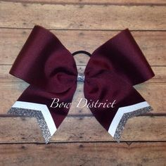 "3"" Maroon Team Cheer Bow with White and Silver Glitter Tail Stripes"