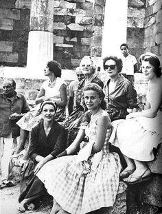 Maria Callas, 1959, with Tina Onassis, Lady Churchill and Giovanni Battista Meneghini in Delphi.
