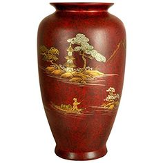 """Oriental Furniture 12"""" Red Tung Chi Vase. Choose black, gold leaf or red lacquer, 12"""" tall w/8"""" dia., disc wood base available. Fine high temperature premium jiangxi chinese porcelain w/high luster lacquer finish. Fine heirloom quality, each a work of art, compliments traditional or contemporary decor. Browse amazon.com japanese, chinese and asian furniture, art, décor, lamps and room dividers."""