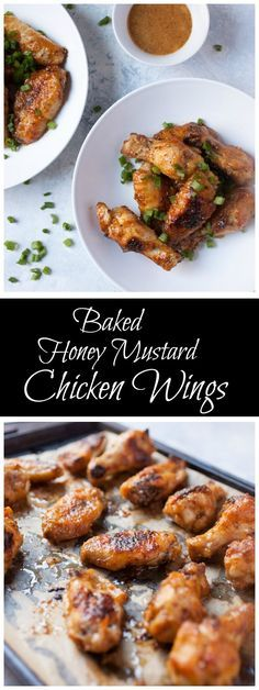 These Baked Honey Mustard Chicken Wings are an easy, healthier way to enjoy chicken wings. Great for football games and party appetizers. Cooking Chicken Wings, Baked Chicken Wings, Chicken Wing Recipes, Glazed Chicken, Recipe Chicken, Fried Chicken, Honey Mustard Chicken Wings, Bbq, Paleo