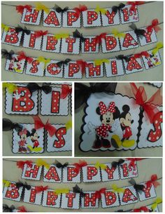 Mickey or Minnie Mouse Birthday Happy birthday Banner with Name birthday from A Sweet Celebration Mickey Mouse Banner, Minnie Mouse Party Decorations, Mickey Mouse Birthday, Mickey Minnie Mouse, Christmas Tree Onesie, Christmas Tree Printable, Minnie Mouse Christmas, Thank You Party, Classic Mickey Mouse