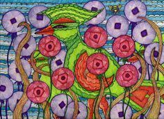 Bird Brood by Suzanne Berton is a line drawing using memory, imagination, creativity and a little fun, too.