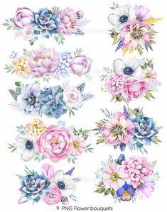 Flower Vine Tattoos, Flower Bouquet Tattoo, Birth Flower Tattoos, Flower Bouquets, Floral Tattoo Design, Flower Tattoo Designs, Watercolor Flowers, Watercolor Flower Tattoos, Clip Art