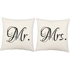 Mr. and Mrs. Throw Pillows - Set of 2