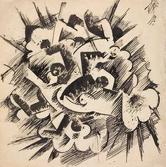Otto Dix, Explosion, 1918, ink, wash, graphite on paper © Spencer Museum of Art, The University of Kansas
