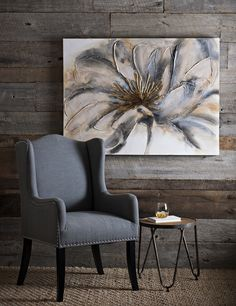 This beautiful Gold and Gray Bloom Canvas Art has the eye-catching glow your home needs for fall. Be inspired by its delicate, hand-painted design and fall in love with its warm tones and shimmering metallic accents. House Painting, Painting On Wood, Painting Canvas, Art Sur Toile, Grey Wall Decor, Abstract Flowers, Canvas Artwork, Grey Walls, Paint Designs