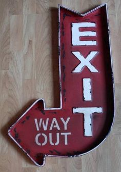 Large Vintage Style Exit: Way Out Tin Sign, Metal, Home Theater Decor, 50s Diner