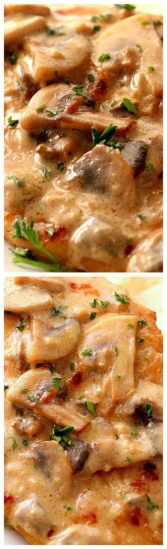 Creamy Mushroom Garlic Chicken ~ Juicy chicken in creamy garlic mushroom sauce served with mashed potatoes or pasta for a quick and delicious dinner!