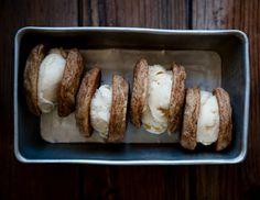 cupcakes-for-breakfast: Desserts for Breakfast: Peach Frozen Yogurt and Basil Snickerdoodle Sandwiches Yummy Treats, Delicious Desserts, Dessert Recipes, Yummy Food, Sweet Treats, Peach Frozen Yogurt, Brownies, Biscuits, Breakfast Dessert