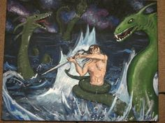 Beowulf fighting with Grendel's mother.