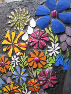 flowers , a mosaic by kat gottke