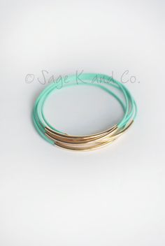 Mint Leather And Gold Tube Bangle Bracelet Mint by SageKandCo, $15.00