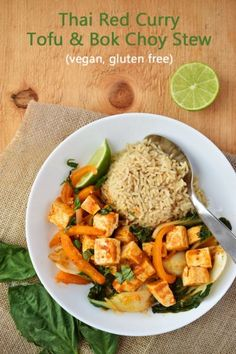 Vegan and Gluten-Free Thai Red Curry Tofu & Bok Choy Stew - comes together quickly for a great healthy weeknight family meal
