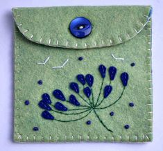 Felt phone case, felt iPod, gadget case, handmade blue-green felt floral phone…