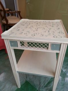 I used Annie Sloan chalk paint and scrapbook stencils. For the LR in FLORIDA.