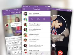 Viber iOS8 Concept by Todor Russanov in 36 Mobile UI Designs for Your Inspiration