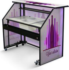 "65"" Folding Portable Bar w/ Custom Graphics, LED Lights, Steel ..."