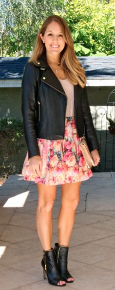 Leather jacket with floral skirt