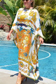 Kaftan Gown, Silk Kaftan, Kente Styles, Maxi Styles, Pool Wear, African Maxi Dresses, Style Couture, Abaya Fashion, African Women