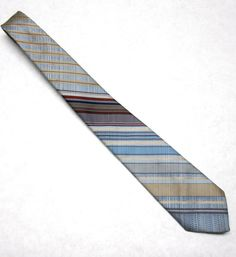 Vintage Necktie Mens Tie Blue Brown Stripe 3 by sweetie2sweetie, $7.99
