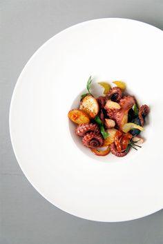 Octopus Salad : Roasted Tomato. Potato. Red Onion. Celery. Garlic. Sea Salt Capers. Lemon. Chili Oil