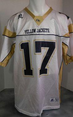 Georgia tech yellow jackets Russell athletics white football jersey large  59c773737
