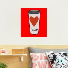 """""""Love Coffee With A Passion -White Travel Mug Coffee Design"""" Photographic Print by Pultzar   Redbubble"""