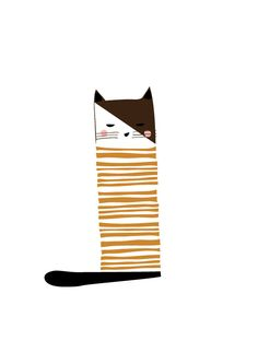 Cat Art Print - Animal Illustration, Drawing, Illustration, Children Room, Kids room, Nursery room Art, home decor, Home interior by dekanimal on Etsy