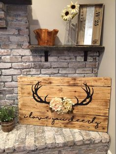 I Love You Deerly Pallet Wood Sign Rustic Home Decor