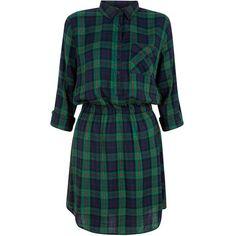 Green Check Shirt Dress (1.550 RUB) ❤ liked on Polyvore featuring dresses, lip print dress, shirt dress, blue green dress, lips dress y cinched waist dress
