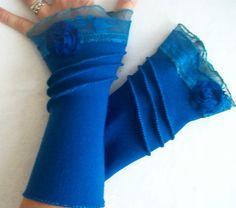 Blue fingerless gloves Blue Moher gloves Blue by NESRINDESIGN