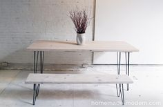 HomeMade Modern DIY EP3.1 White Washed 2x12 Table with Hairpin Legs