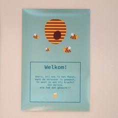 Verwelkom je gasten in stijl met een muurposter van Honingbeertje Hans aan de deur! #poster #babyborrel #communie #kinderfeestje #beaublue
