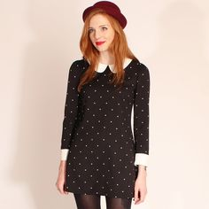 This Dress  Hearts and bows black and white Izzi Peter Pan Collar Dress