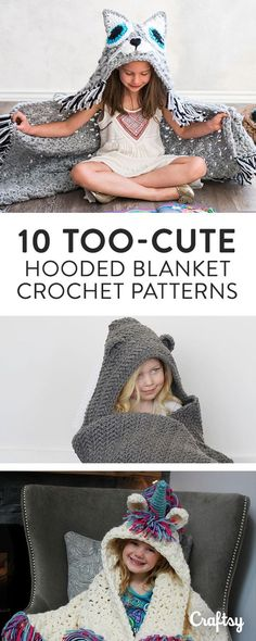 Make your own crochet hooded blanket pattern to look like any creature you choose, from dogs to dinosaurs and cats to unicorns.