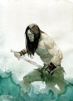 Men in fantasy art — Conan by Esad Ribic Red Sonja, Dark Fantasy, Fantasy Art, Silver Surfer, Illustrations, Illustration Art, Conan The Destroyer, Secret Wars, Character Art
